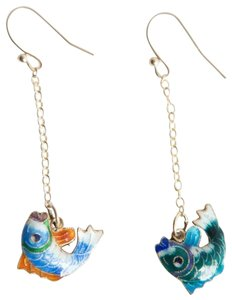 alberto juan Sterling Silver 14 kt Gold Vermeil Cloisonné Chinese Fish Earrings