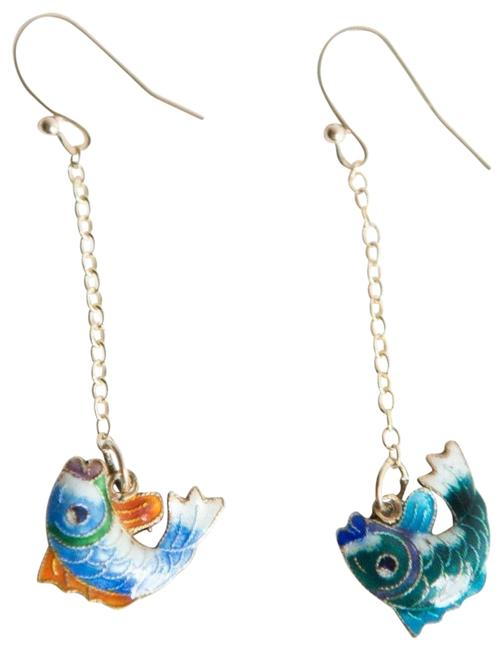 Gold Sterling Silver 14 Kt Vermeil Cloisonné Chinese Fish Earrings Gold Sterling Silver 14 Kt Vermeil Cloisonné Chinese Fish Earrings Image 1
