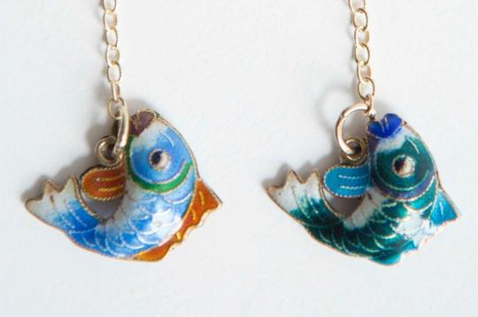 alberto juan Sterling Silver 14 kt Gold Vermeil Cloisonné Chinese Fish Earrings Image 1