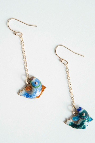 alberto juan Sterling Silver 14 kt Gold Vermeil Cloisonné Chinese Fish Earrings Image 3