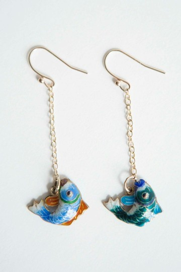 alberto juan Sterling Silver 14 kt Gold Vermeil Cloisonné Chinese Fish Earrings Image 4