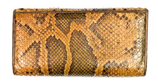 Burberry BURBERRY PYTHON SNAKESKIN CONTINENTAL WALLET CLUTCH Image 1