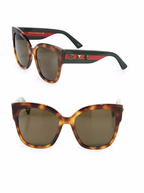 Gucci Havana Brown Gg0059s 002 Gg 0059s Green/Red Arms New Sunglasses Gucci Havana Brown Gg0059s 002 Gg 0059s Green/Red Arms New Sunglasses Image 1