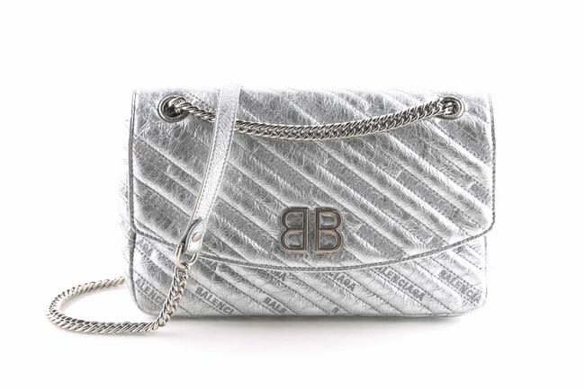 Item - Shoulder Bb Round Quilted Metallic Silver Leather Cross Body Bag