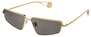 Gucci Gold Black Thin Stylized Metal Retro Sunglasses GG0537S Unisex