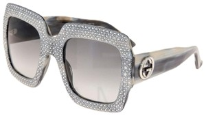 Gucci RHINESTONE 0048 Grey Horn Crystal Oversized Square GG0048S 3861