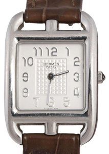 Hermès ALLIGATOR AND STAINLESS STEEL CAPE COD DOUBLE TOUR WATCH PM 23MM