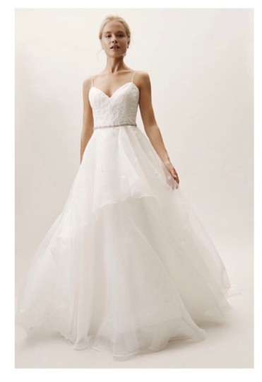 BHLDN Ivory Tulle Hepburn Traditional Wedding Dress Size 10 (M) Image 0