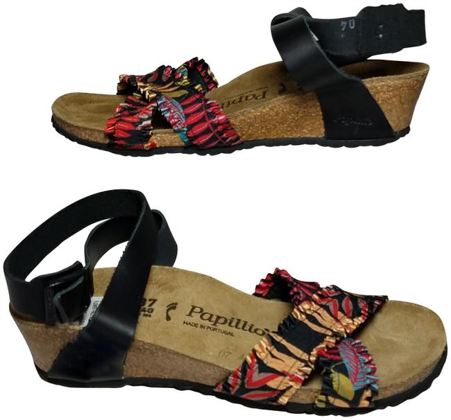 Item - Black Floral Lola Frill Low Wedge Sandals Size US 6 Narrow (Aa, N)
