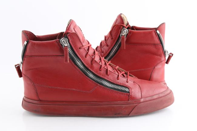 Item - Red Kriss Calfskin High Top Sneakers Shoes