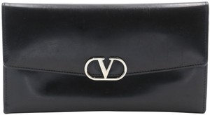 Valentino Glossy Calfskin Leather V Long Flap Wallet