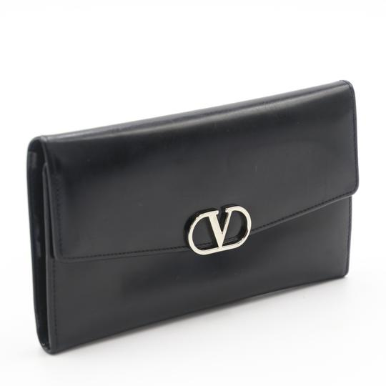 Valentino Glossy Calfskin Leather V Long Flap Wallet Image 1
