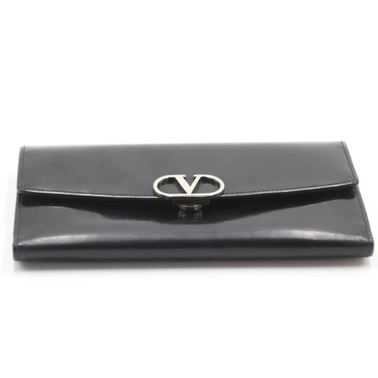Valentino Glossy Calfskin Leather V Long Flap Wallet Image 4