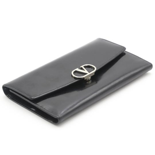 Valentino Glossy Calfskin Leather V Long Flap Wallet Image 5