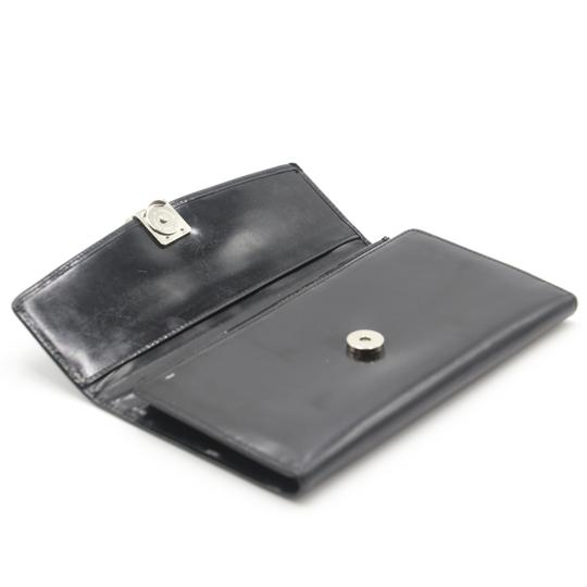 Valentino Glossy Calfskin Leather V Long Flap Wallet Image 7