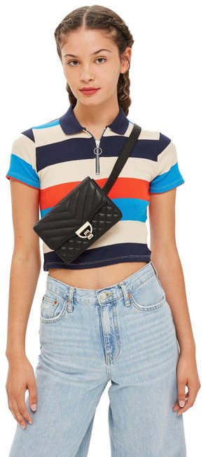 Item - Bumbag Black Polyurethane Cross Body Bag