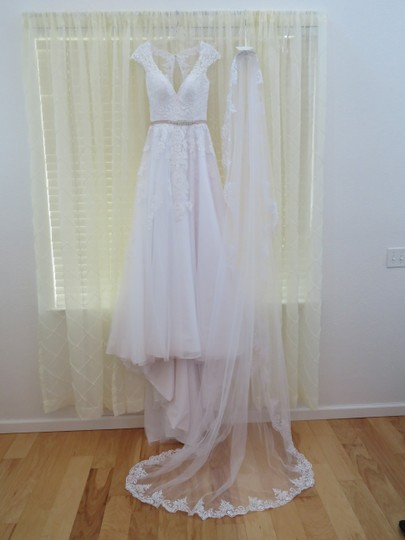 Maggie Sottero White Long W Cathedral Length W/Blusher Bridal Veil Image 1