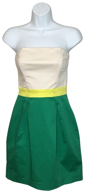 Item - Kelly Green/Beige/Yellow Strapless Color Block Short Cocktail Dress Size 4 (S)