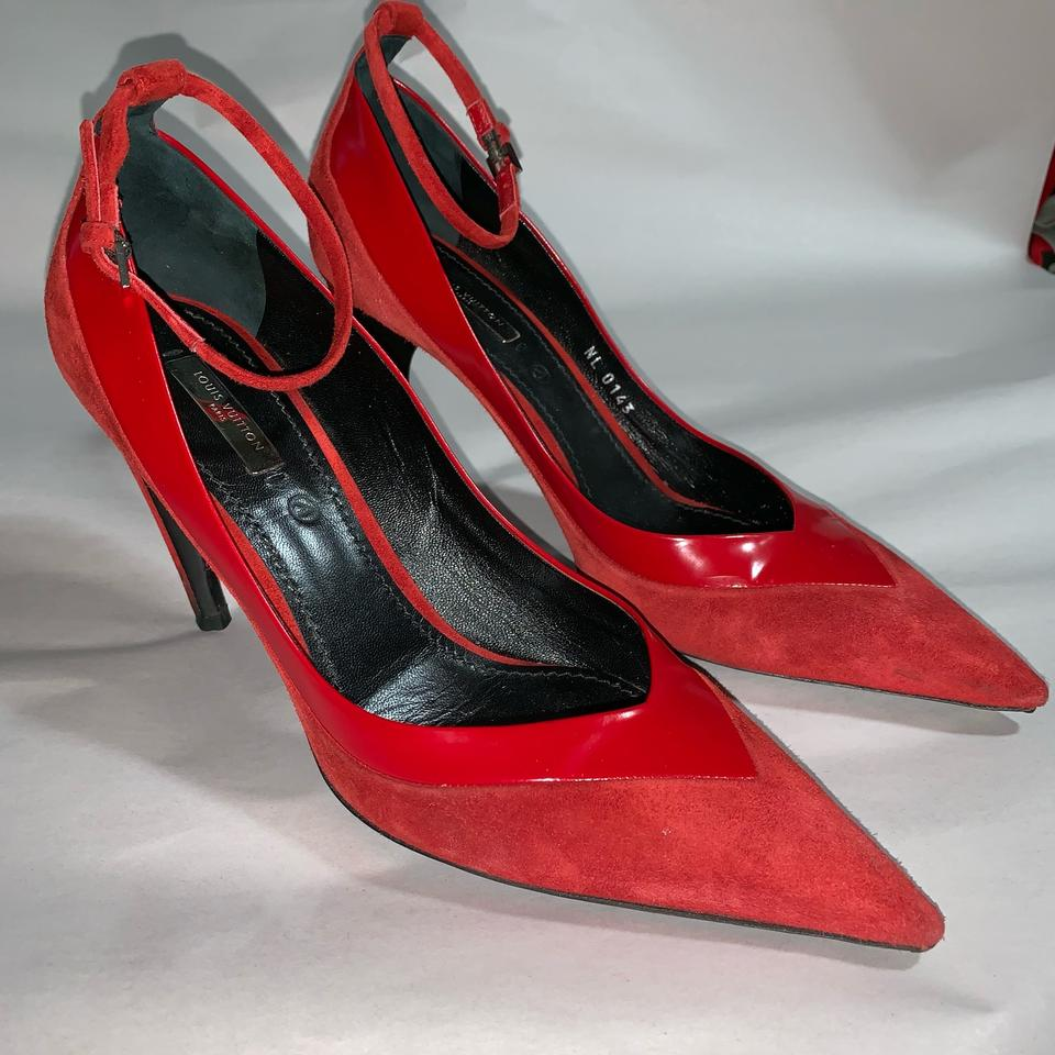 aea219d2dc698 Louis Vuitton Red Suede & Patent Leather Ankle Strap Pumps Size EU 38.5  (Approx. US 8.5) Regular (M, B) 57% off retail