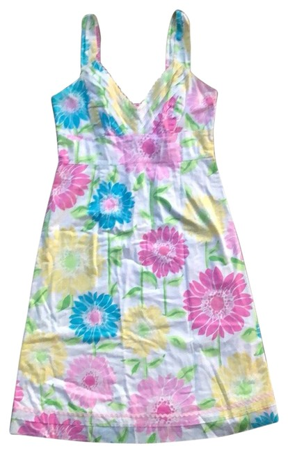 Item - White; Pink; Yellow; Blue Sunflower-print Sundress Mid-length Cocktail Dress Size 4 (S)