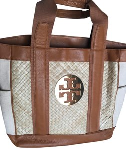 Tory Burch Leather & Straw Tote