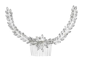 Silver White New Bride Crystal Comb Veil Clip Pin Piece Hair Accessory