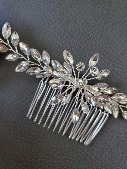 Silver White New Bride Crystal Comb Veil Clip Pin Piece Hair Accessory Image 1