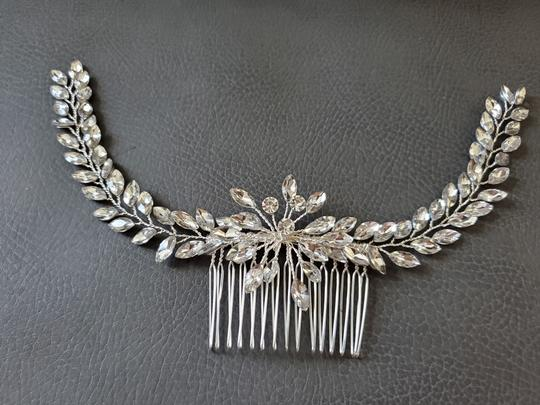 Silver White New Bride Crystal Comb Veil Clip Pin Piece Hair Accessory Image 2