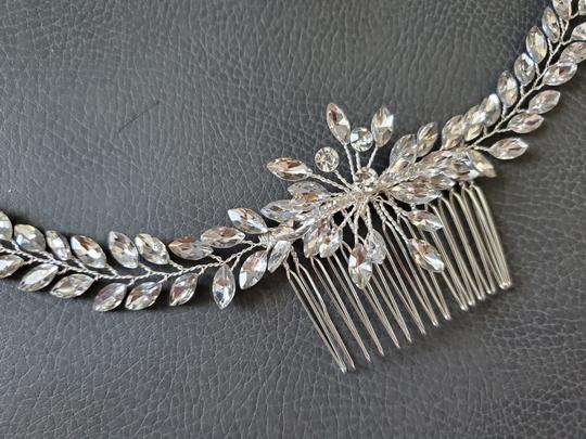 Silver White New Bride Crystal Comb Veil Clip Pin Piece Hair Accessory Image 3