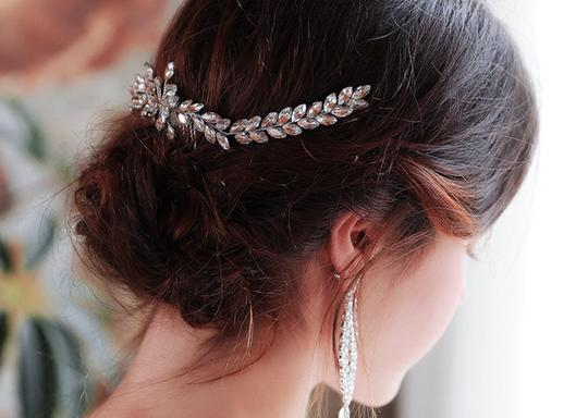Silver White New Bride Crystal Comb Veil Clip Pin Piece Hair Accessory Image 4