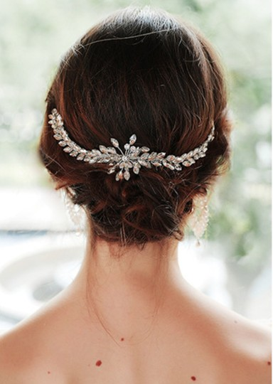 Silver White New Bride Crystal Comb Veil Clip Pin Piece Hair Accessory Image 5