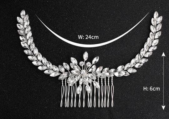 Silver White New Bride Crystal Comb Veil Clip Pin Piece Hair Accessory Image 6