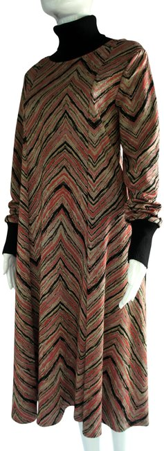 Item - Black Pink Gold Silver Sfizio Sweater Knit Mid-length Work/Office Dress Size 8 (M)