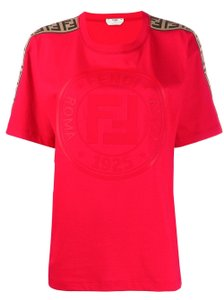 Fendi Ff Logo Sleeve T-shirt. T Shirt Red