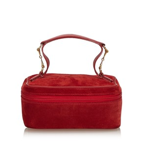 Gucci Gucci Red Suede Leather Horsebit Vanity Bag Italy w Box SMALL