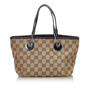 Gucci 9gguto040 Vintage Canvas Leather Tote in Brown