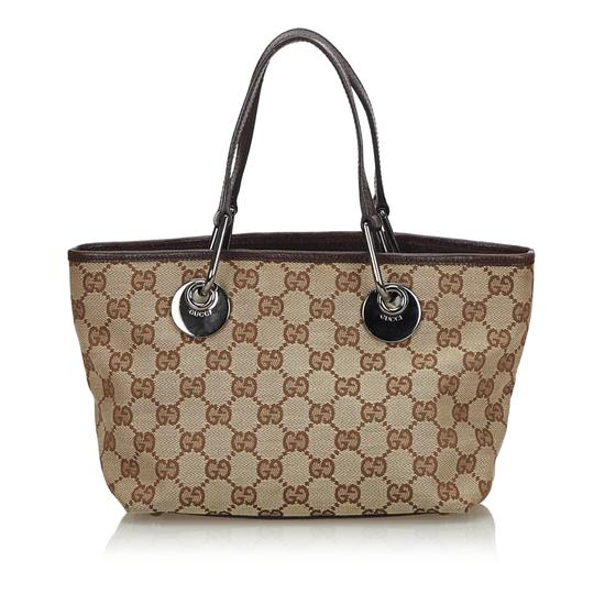 Preload https://img-static.tradesy.com/item/25836368/gucci-bag-eclipse-beige-fabric-gg-italy-large-brown-canvas-leather-tote-0-0-540-540.jpg