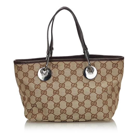 Gucci 9gguto040 Vintage Canvas Leather Tote in Brown Image 2