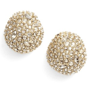 Alexis Bittar NEW 10K Gold Plated Crystal Encrusted Button Earrings