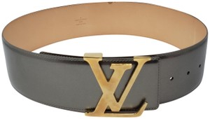 Louis Vuitton Grey patent leather Louis Vuitton Vernis Initiales LV buckle belt
