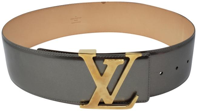 Item - Gold Grey Patent Leather Vernis Initiales Lv Buckle Belt