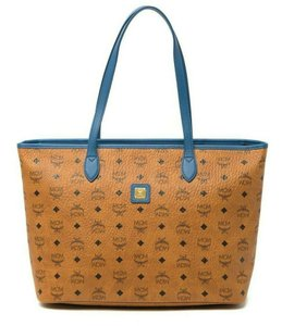 MCM Leather Logo Summer Visetos Tote in cognac blue