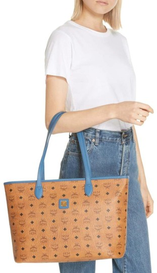 MCM Leather Logo Summer Visetos Tote in cognac blue Image 1