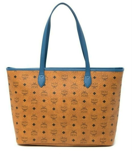 MCM Leather Logo Summer Visetos Tote in cognac blue Image 4