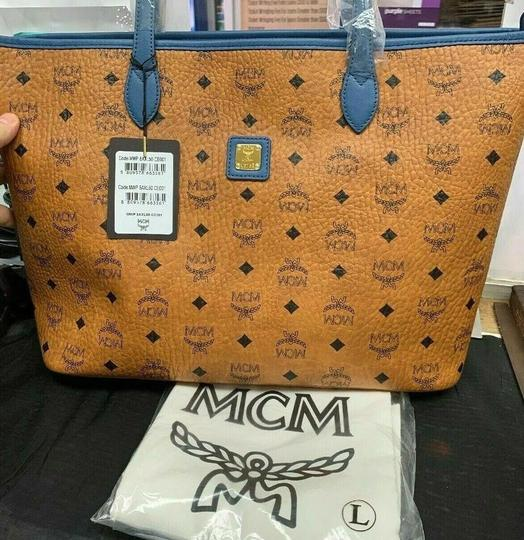 MCM Leather Logo Summer Visetos Tote in cognac blue Image 6
