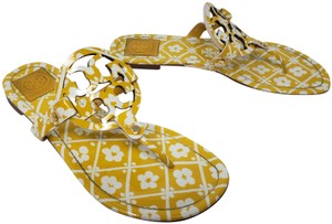 Tory Burch Miller Reva Logo Gold Hardware Patent Leather Yellow Sandals