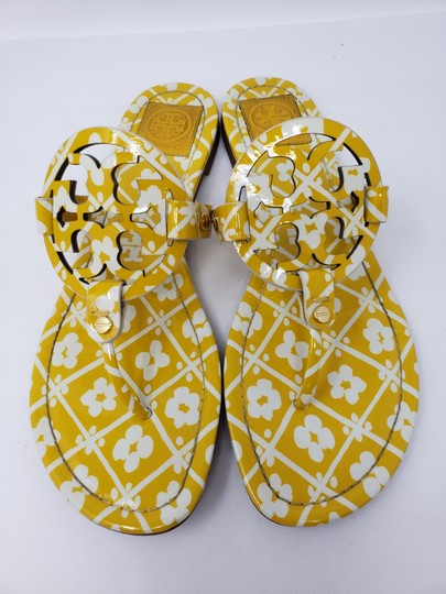 Tory Burch Miller Reva Logo Gold Hardware Patent Leather Yellow Sandals Image 1