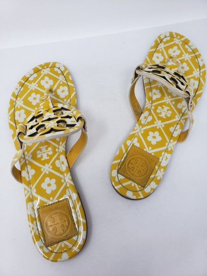 Tory Burch Miller Reva Logo Gold Hardware Patent Leather Yellow Sandals Image 10