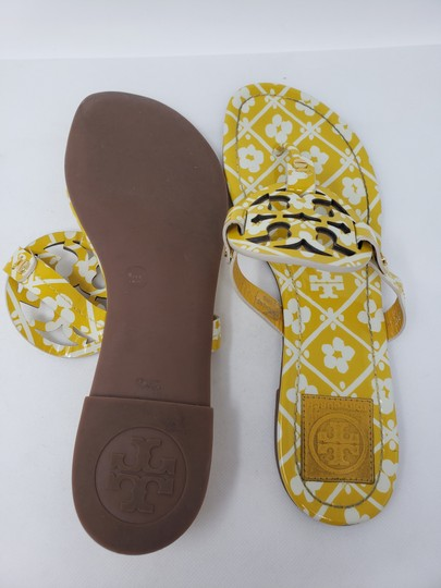 Tory Burch Miller Reva Logo Gold Hardware Patent Leather Yellow Sandals Image 11