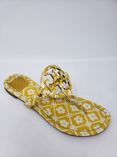 Tory Burch Miller Reva Logo Gold Hardware Patent Leather Yellow Sandals Image 3